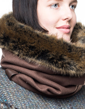 faux fur cowl, womens fur scarf, gift for women, unisex scarf, in wool lined with luxury faux fur