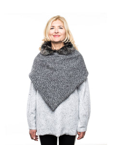 Chunky knit poncho gift for mom wool capulet chunky scarf womens accessories
