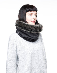 fur cowl fur scarf faux fur scarf fake fur snood chunky cowl wool scarf lined with super soft faux fur