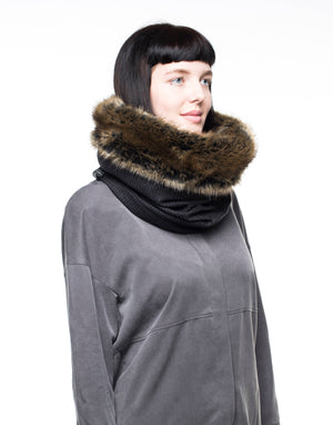 Unisex faux fur cowl scarf, hooded fur scarf, snood with luxuriously soft faux fur