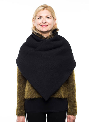 Fur collar wool poncho thick winter wrap wool wrap warm shawl