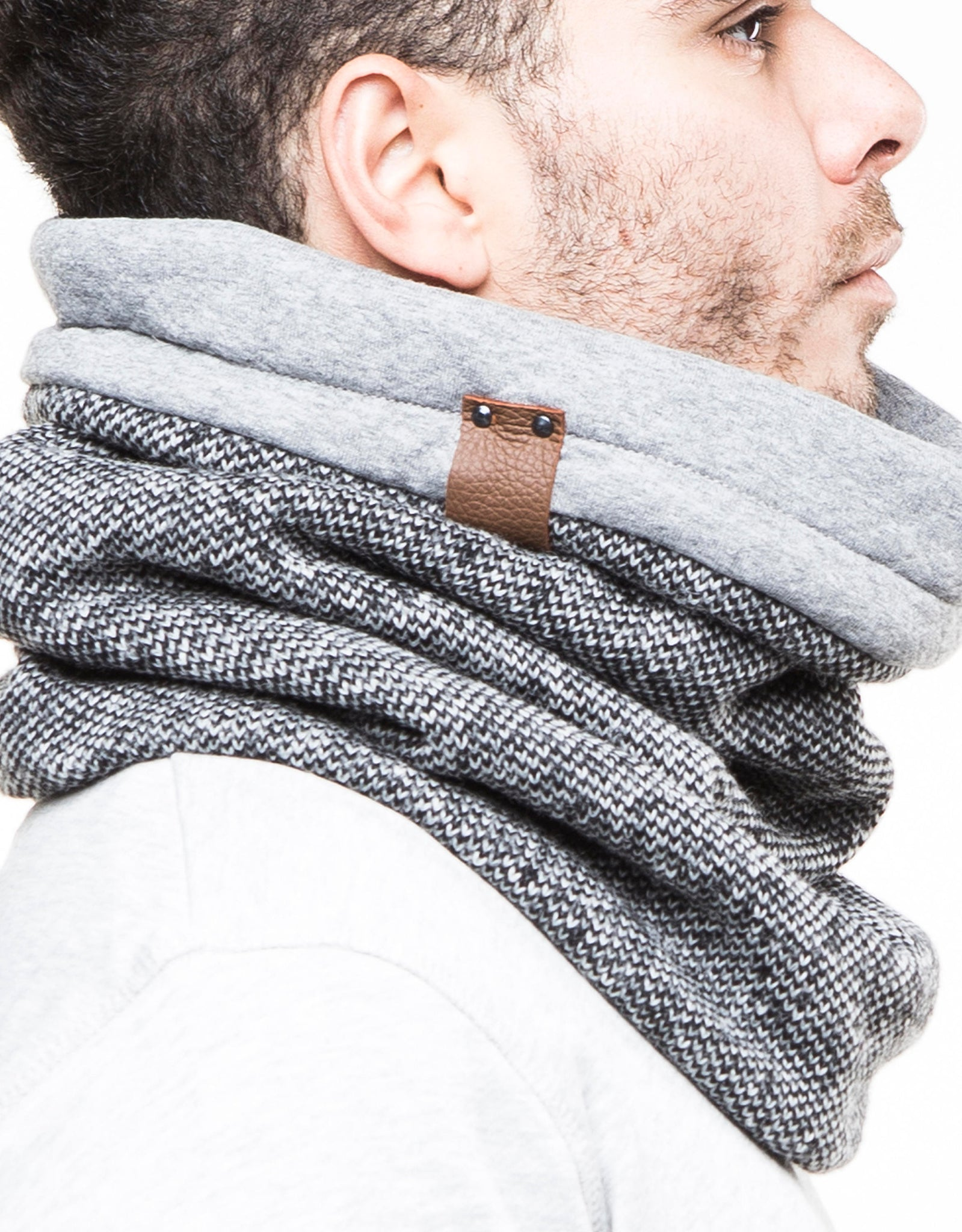 Mens scarf, grey knit scarf, boyfriend gift, unique gifts for men