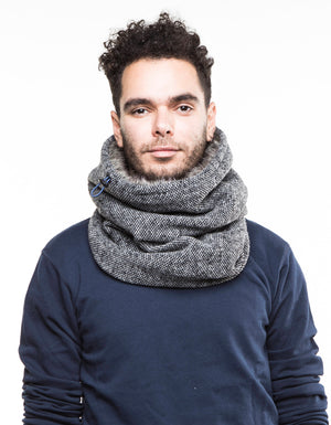 Extreme weather scarf, faux fur cowl, mens womens fur lined cowl. Snock® extra thick and warm scarf