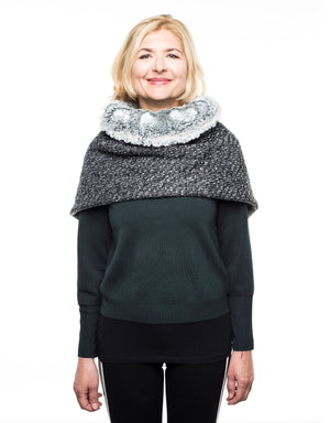 Wool scarf gift for her gift mom fur collar poncho fur lined poncho