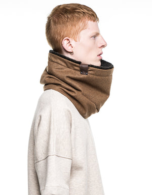 camel wool cowl with faux fur [short]