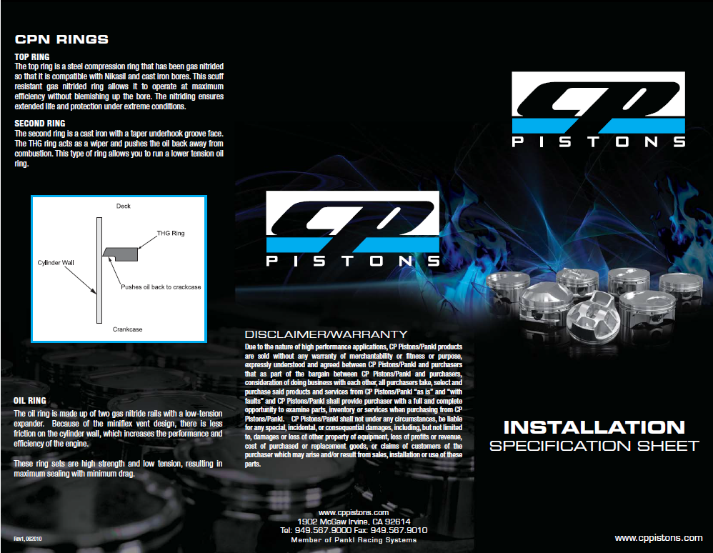 CP Pistons Ring Specification Sheet