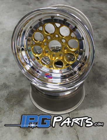 "Weld Magnum Import Drag Wheels - 13x8 - 4x100 - 5"" Backspacing (Gold)"