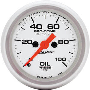 Autometer Ultra-Lite Oil Pressure 0-100 PSI