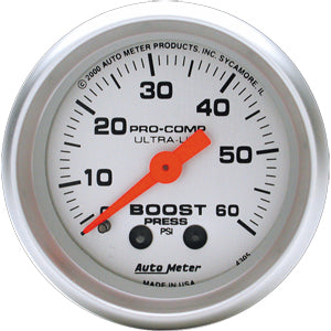 Autometer Ultra-Lite Boost Gauge 0-60 PSI
