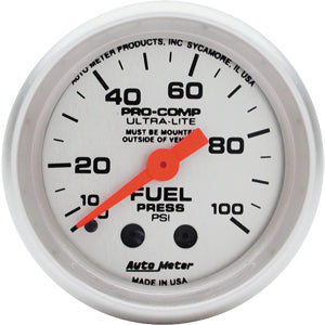 Autometer Ultra-Lite Fuel Pressure Mechanical Gauge 0-100 PSI
