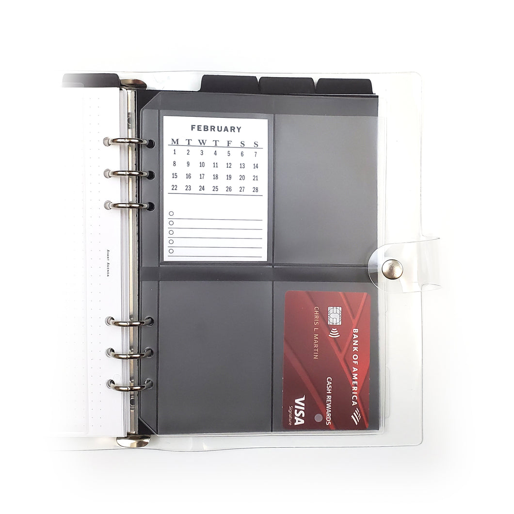 Frosted Planner Credit & Index Card Holders | A5 (6-Ring Punched)