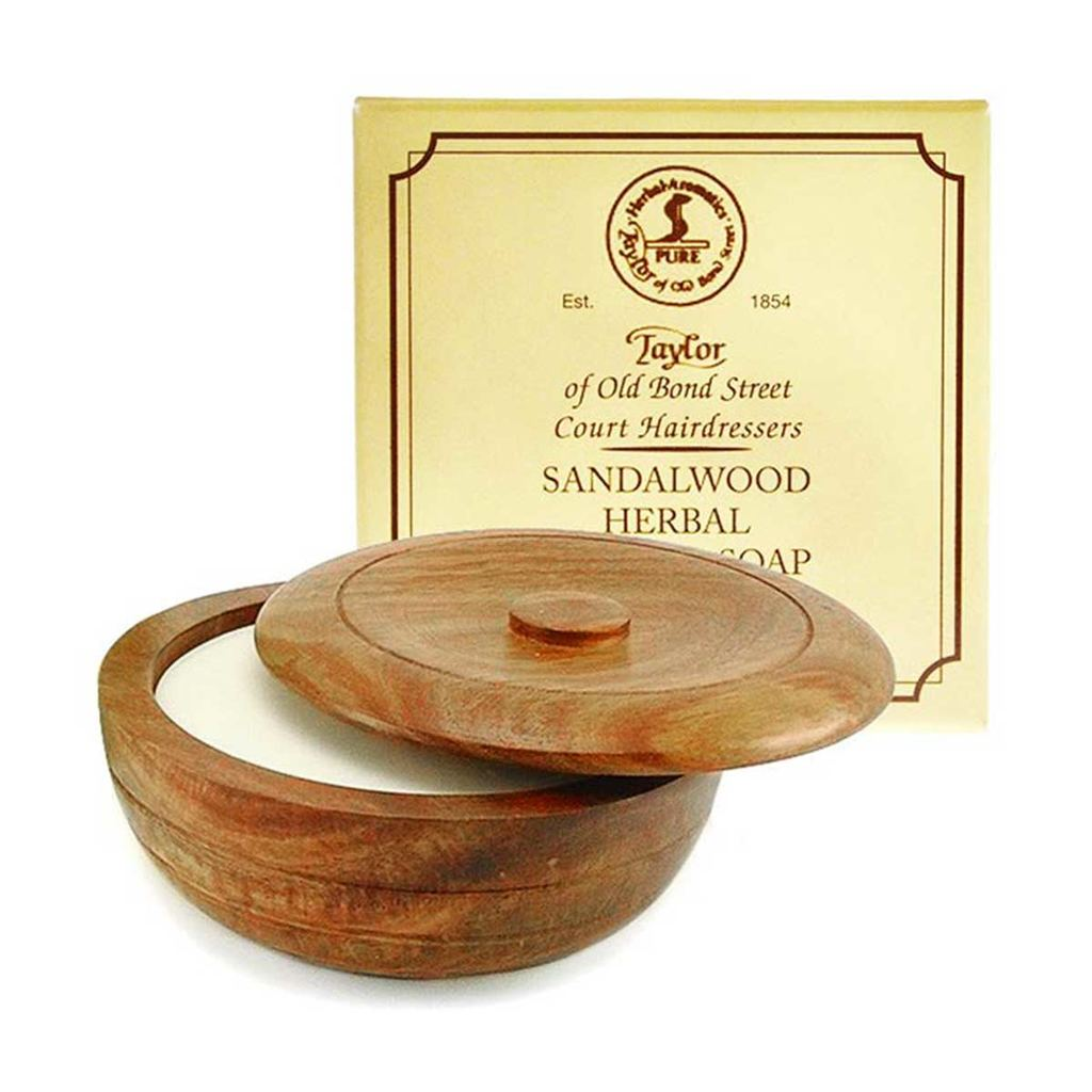 TAYLOR OF OLD BONDSTREET - SANDALWOOD HERBAL SHAVING SOAP IN WOODEN BOWL
