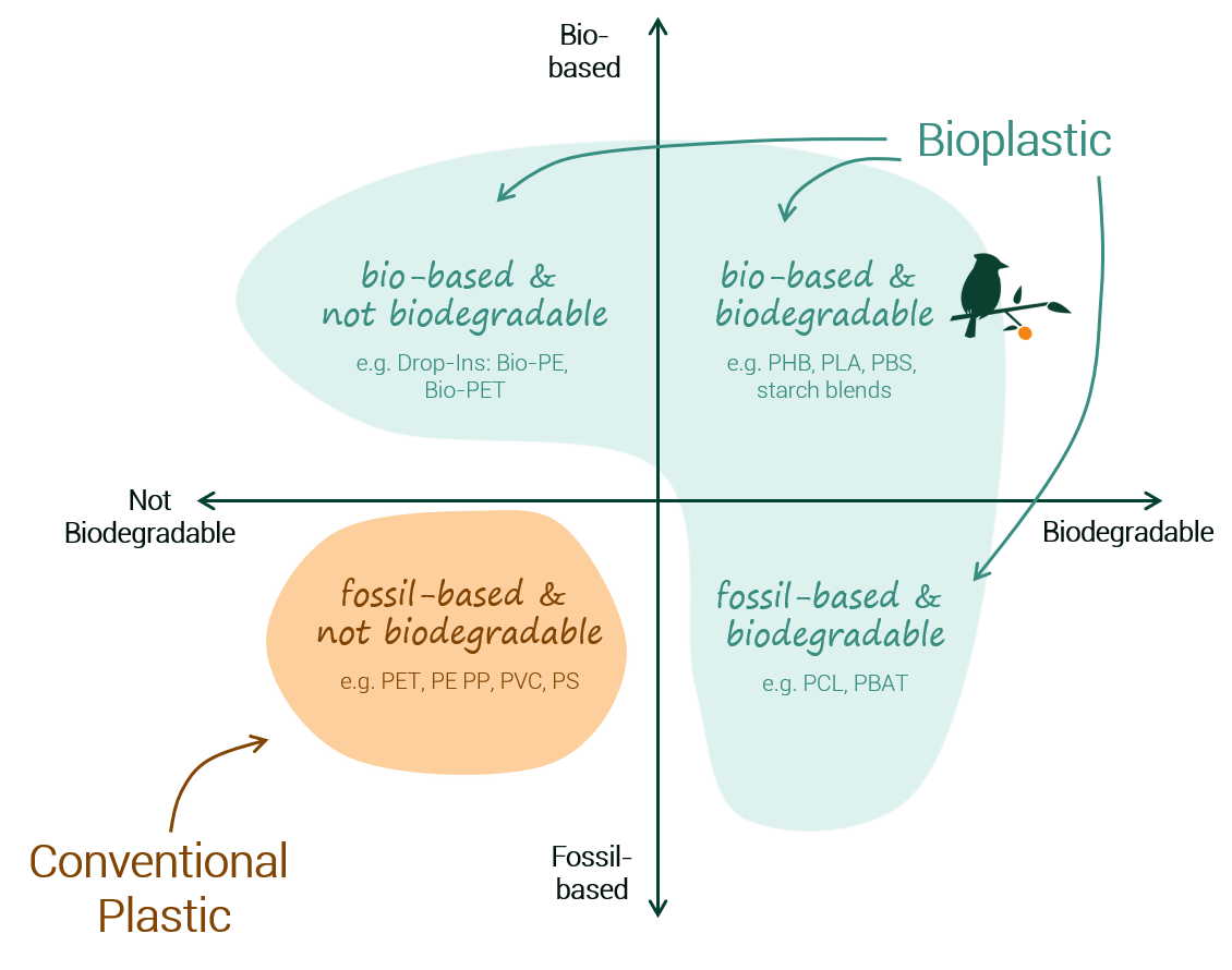 Bioplastics biobased vs fossilbased and biodegradable explained in one chart