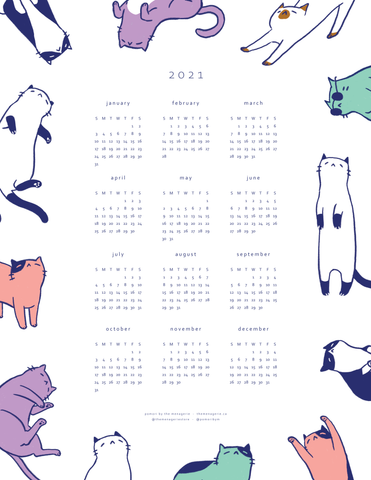 2021 Cat Calendar 12-Month Overview