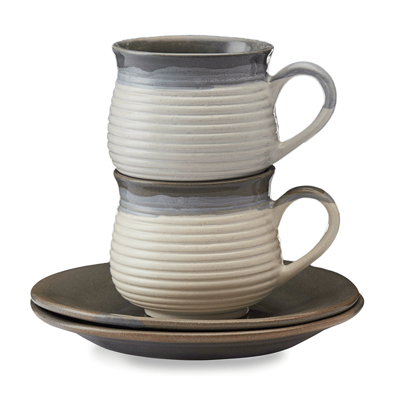Vegan Concentric Grooved Tea Cups & Saucers Premium - Set Of Two
