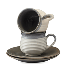 Load image into Gallery viewer, Vegan Concentric Grooved Tea Cups & Saucers Premium - Set Of Two