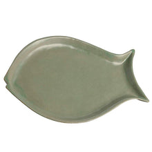 Load image into Gallery viewer, Vegan High Fired Ceramic Olive Coloured Fish Plate