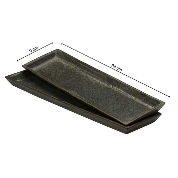 Vegan Sleek Rectangular Tray/ Platter - Set of Two