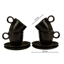 Load image into Gallery viewer, Vegan Espresso Coffee Cups - Set Of Four with Saucer