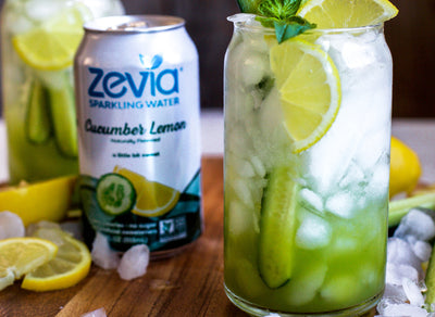 Sparkling Basil Cucumber Lemon Mocktail