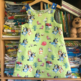 Green pinny - girls handmade dress
