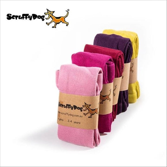 Scruffy dog tights - warm colours