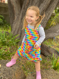 Rainbow pencils pinny - handmade girls dress