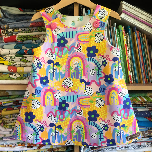 Rainbow of hope pinny - handmade girls dress