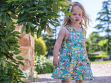 Gossiping babies mint pinny - handmade girls dress