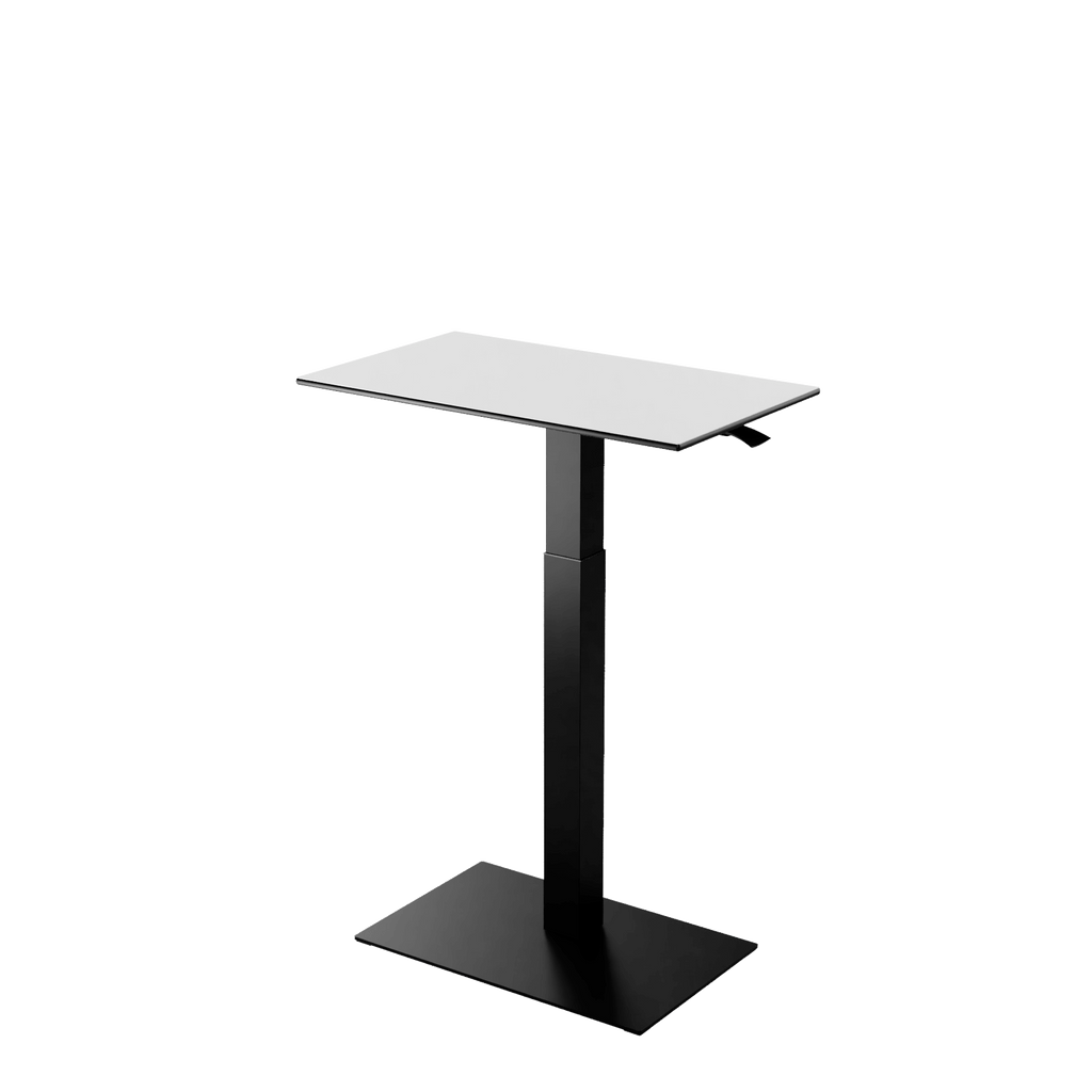 Height adjustable desk Mahtuva M Whiteblack with black base is good choice for remote workers by Selkastore