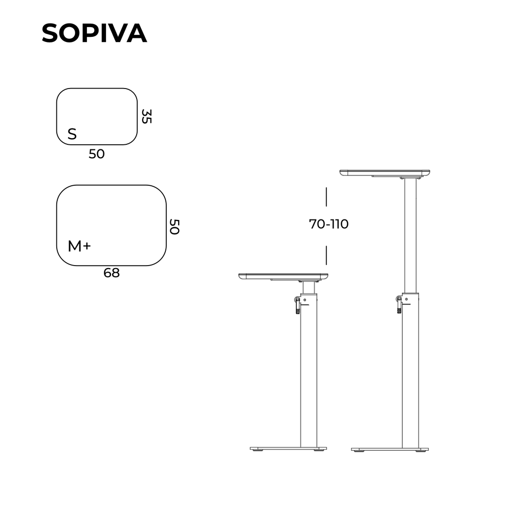 Measurements for height adjustable desk SOPIVA from SELKAstore