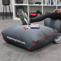 Bulldog Bean Bag Footstool - Grey with Red trim