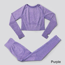 Load image into Gallery viewer, 2Pcs Seamless Yoga Set / Workout Top + Leggings Sports Set Primo Leggings Purple S China