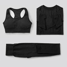 Load image into Gallery viewer, 3Pcs Seamless Yoga Set / Workout Bra + Top + Leggings Sports Set Primo Leggings Black S China