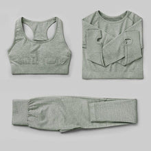 Load image into Gallery viewer, 3Pcs Seamless Yoga Set / Workout Bra + Top + Leggings Sports Set Primo Leggings Green Grey S China