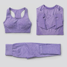 Load image into Gallery viewer, 3Pcs Seamless Yoga Set / Workout Bra + Top + Leggings Sports Set Primo Leggings Purple S China