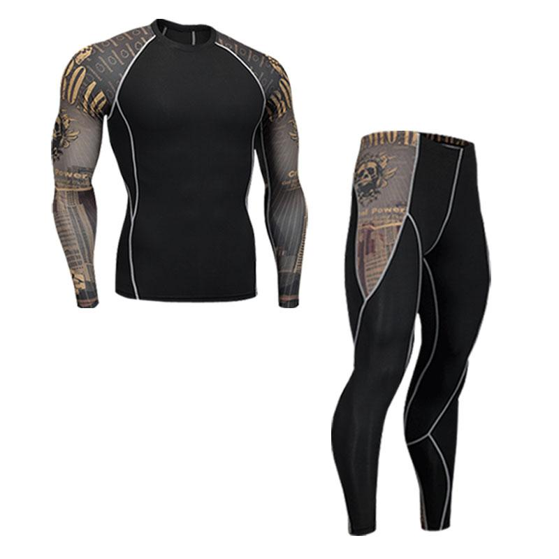 compression men t-shirt + leggings set Primo Leggings sets-350852 S