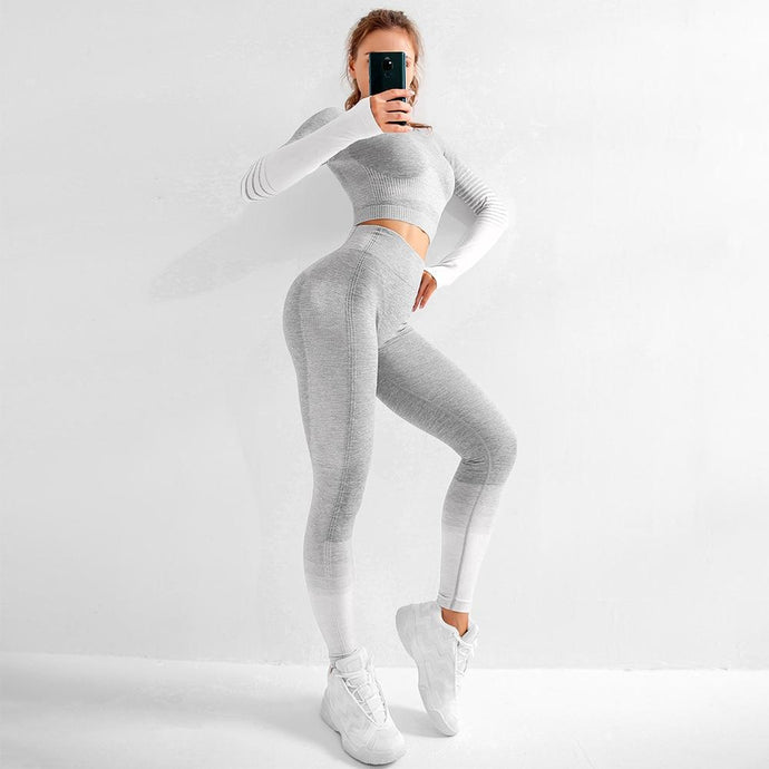 Gray Seamless Striped Sports Suits / Shirts +Leggings Leggings, Sports Set Primo Leggings