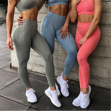Load image into Gallery viewer, High Waist Seamless Compression Leggings For Women - Watermelon Red Leggings Primo Leggings