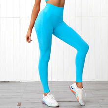 Load image into Gallery viewer, High Waist Squat Proof Seamless Yoga Leggings For Girls - Bright Blue Leggings Primo Leggings