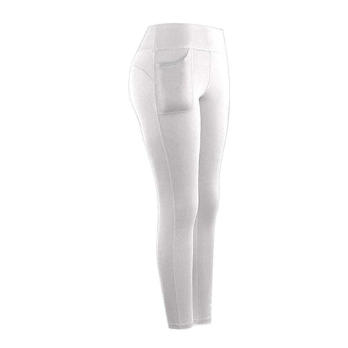 High Waist Stretch Athletic Leggings With Pocket Leggings Primo Leggings White S China