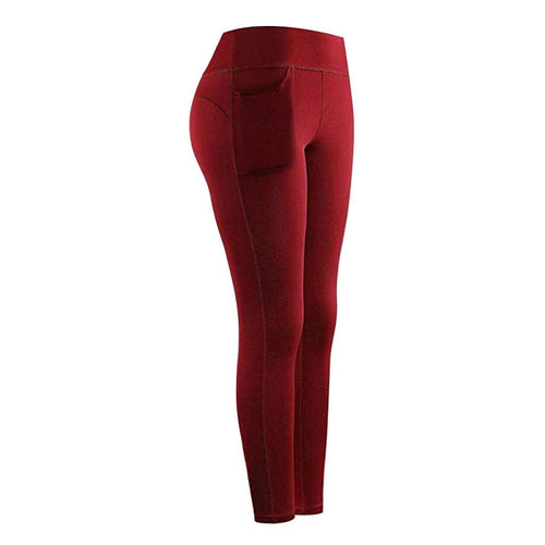 High Waist Stretch Athletic Leggings With Pocket Leggings Primo Leggings Wine S China