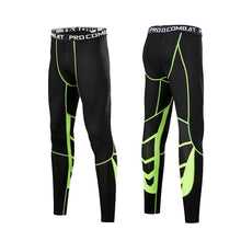 Load image into Gallery viewer, Men Compression Pants Tights Leggings Primo Leggings Black-Green-1p Asian Size-M