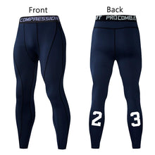 Load image into Gallery viewer, Men Compression Pants Tights Leggings Primo Leggings Navy Blue-1p Asian Size-M