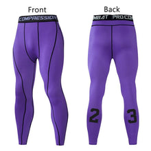 Load image into Gallery viewer, Men Compression Pants Tights Leggings Primo Leggings Purple-1p Asian Size-M
