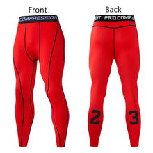 Load image into Gallery viewer, Men Compression Pants Tights Leggings Primo Leggings Red-1p Asian Size-M