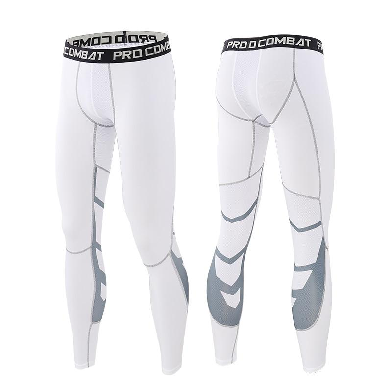 Men Compression Pants Tights Leggings Primo Leggings White-Gray-1p Asian Size-M