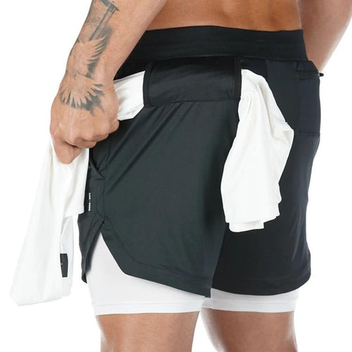 Men Workout Shorts With Towel Rack & Phone Pocket | Two Pieces In One Leggings Shorts Primo Leggings