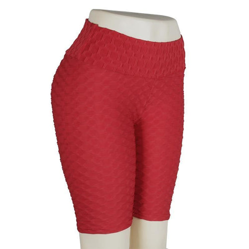 Solid Color High Waist Workout Short Leggings Shorts Primo Leggings Red shorts XS China