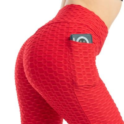 Women Scrunch Leggings With Pockets - Red Leggings Primo Leggings